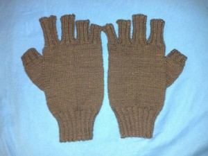 Brown Work Gloves for Uncle Giorgio. Finished Dec. 2013. In KPPPM.
