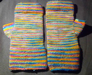 Fingerless Mittens for Emily. Finished Dec. 2013.